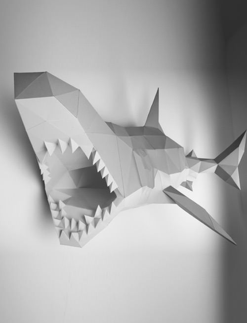 shark wall decoration paper animal papertrophy
